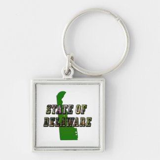 State of Delaware Picture Text and Map Keychain