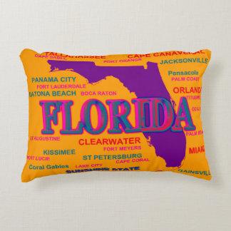 State of Florida Map, Miami, Orlando Accent Pillow
