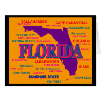 State of Florida Map, Miami, Orlando Card