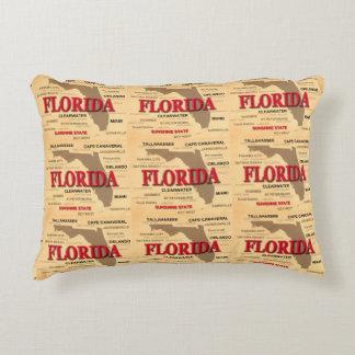 State Of Florida Map, Miami, Orlando, Key West Decorative Pillow