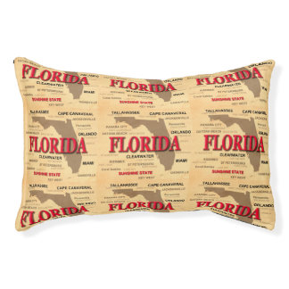 State Of Florida Map, Miami, Orlando, Key West Small Dog Bed