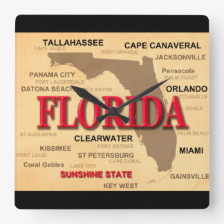 State Of Florida Map, Miami, Orlando, Key West Square Wall Clock