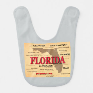 State Of Florida Map, Miami, Orlando, Key West Baby Bibs