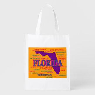 State of Florida Map, Miami, Orlando Reusable Grocery Bag