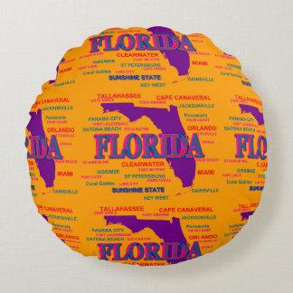 State of Florida Map, Miami, Orlando Round Pillow