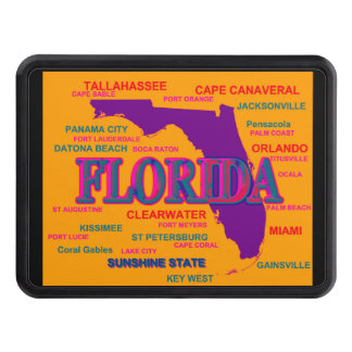 State of Florida Map, Miami, Orlando Tow Hitch Cover