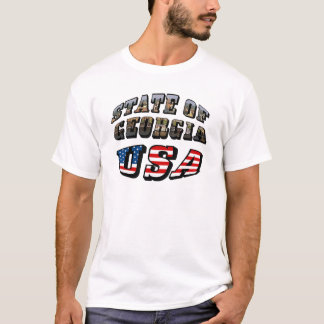 State of Georgia and USA Flag Text T-Shirt