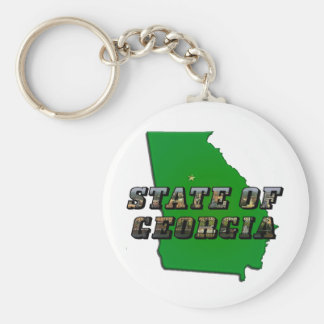 State of Georgia Map and Picture Text Keychain