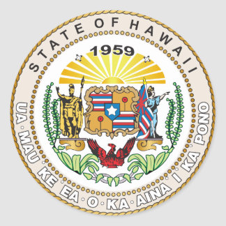 State of Hawaii Great seal Classic Round Sticker
