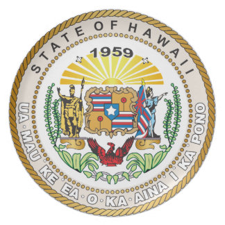 State of Hawaii Great seal Melamine Plate