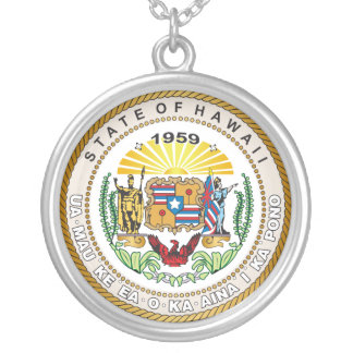 State of Hawaii Great seal Round Pendant Necklace