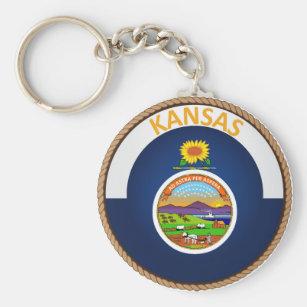 State of Kansas Flag Seal Keychain
