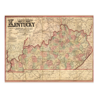 State of Kentucky Map by James Lloyd (1862) Postcard