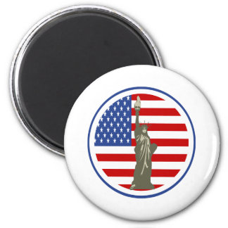 State of Liberty In USA Flag 2 Inch Round Magnet