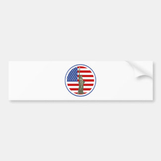 State of Liberty In USA Flag Bumper Stickers