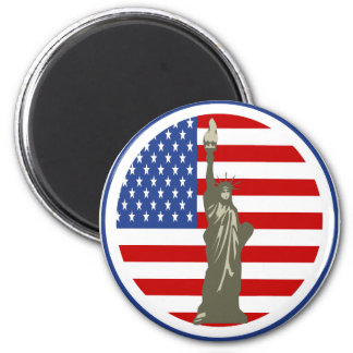 State of Liberty In USA Flag Magnet