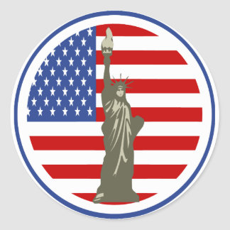 State of Liberty In USA Flag Round Sticker