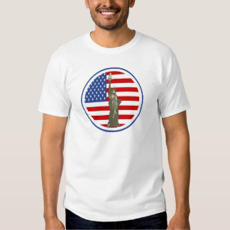 State of Liberty In USA Flag T-shirt