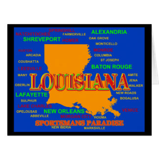 State of Louisiana Map, New Orleans, Shreveport Greeting Cards
