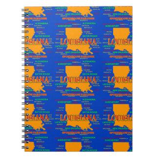 State of Louisiana Map, New Orleans, Shreveport Notebooks