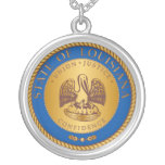 State of Louisiana seal Round Pendant Necklace