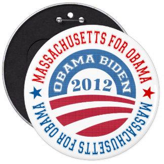 State Of Massachusetts For Obama-Obama Biden 2012 Pinback Button