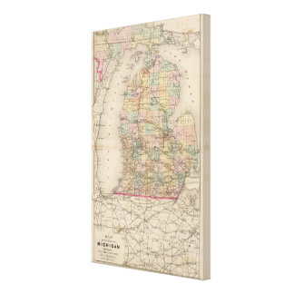 State of Michigan Atlas Map Canvas Print