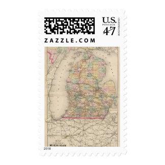 State of Michigan Atlas Map Postage Stamp