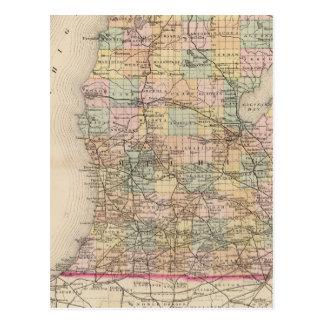 State of Michigan Atlas Map Postcard