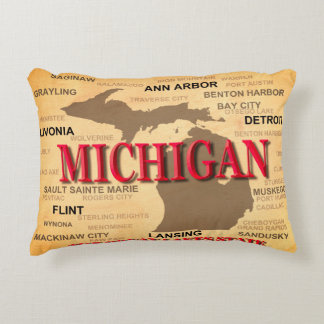 State Of Michigan Map, Detroit, Lansing Accent Pillow