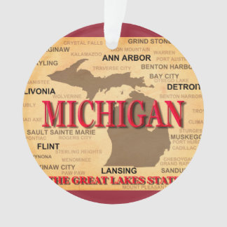 State Of Michigan Map, Detroit, Lansing Ornament