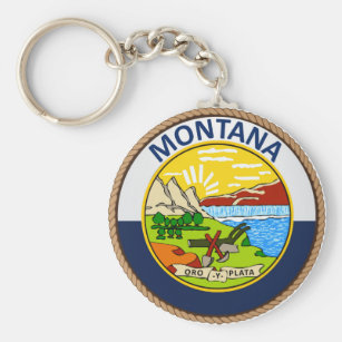 State of Montana Flag Seal Keychain