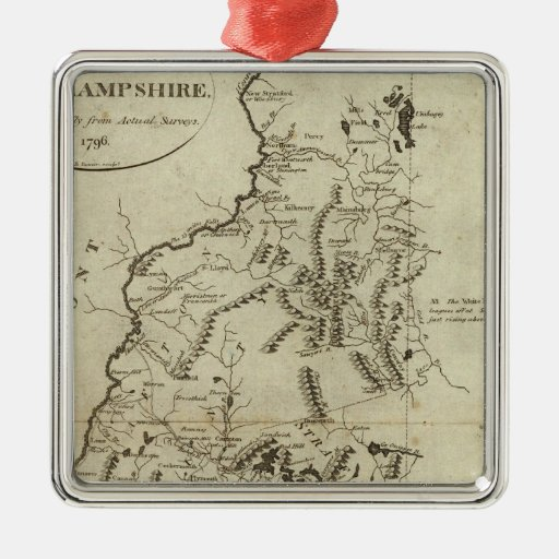 State of New Hampshire 4 Square Metal Christmas Ornament