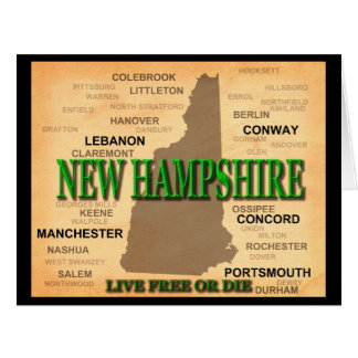 State of New Hampshire Map, concord, Manchester Card