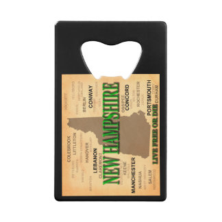 State of New Hampshire Map, concord, Manchester Credit Card Bottle Opener