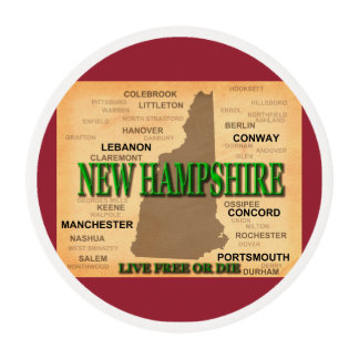 State of New Hampshire Map, concord, Manchester Edible Frosting Rounds
