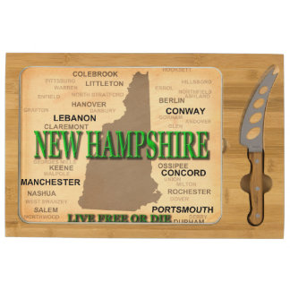 State of New Hampshire Map, concord, Manchester Rectangular Cheese Board