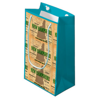 State of New Hampshire Map, concord, Manchester Small Gift Bag
