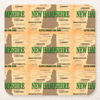 State of New Hampshire Map, concord, Manchester Square Paper Coaster