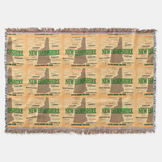 State of New Hampshire Map, concord, Manchester Throw Blanket