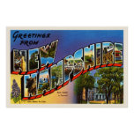 State of New Hampshire NH Vintage Travel Souvenir Poster