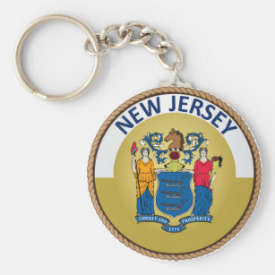 State of New Jersey Flag Seal Keychain