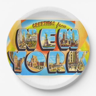 State of New York NY Old Vintage Travel Souvenir Paper Plate