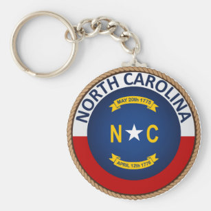 State of North Carolina Flag Seal Keychain