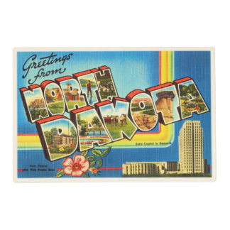 State of North Dakota ND Vintage Travel Souvenir Placemat
