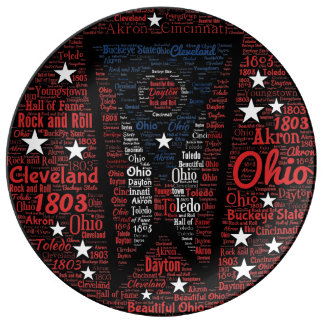 """State of Ohio 10.75"""" Word Art Porcelain Plate"""