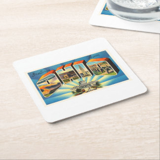 State of Ohio #2 OH Old Vintage Travel Souvenir Square Paper Coaster