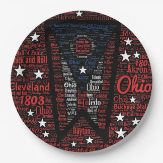 State of Ohio Buckeyes Paper Plates 9""