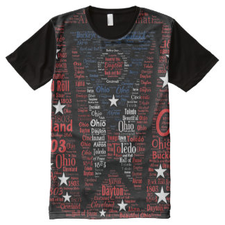 State of Ohio Flag Word Art All-Over Print T-Shirt