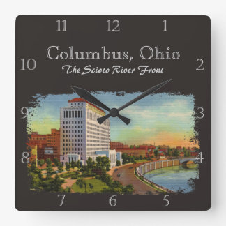 State of Ohio Scioto River Front Vintage Custom Square Wall Clock